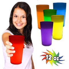 Better Than L.E.D., Super Bright Long Lasting Glow in the Dark Light up Glow Cups Like a Glow Stick, Glow Bracelet or Necklaces but Better! Party Pack = 12 (12 Ounce Glow Cup)