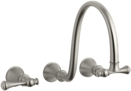 KOHLER K-T16107-4A-BN Revival Wall-Mount Faucet with Traditional Lever Handles, Vibrant Brushed Nickel