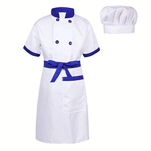 Freebily Kids Chef Costume Halloween Christmas School to Help Mom Cosplay Party Dress up Blue&White 10-12 ()