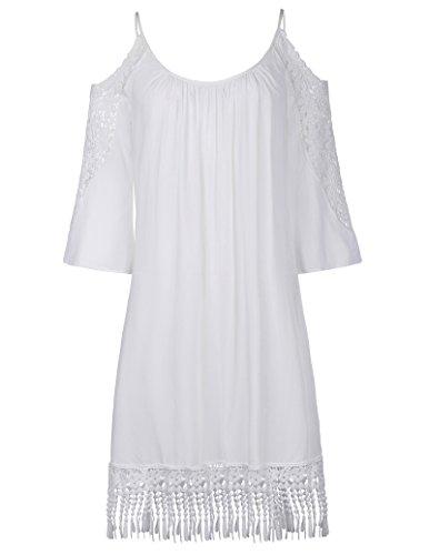Plus Size Loose Casual Dress Cold Shoulder Crochet Lace Loose Beach Dress XL KK644-2