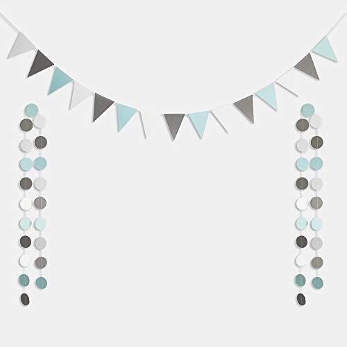 Blue Gray White Triangle Flags Paper Banner with 40pcs Glitter Circle Dots Garland Bunting for Wedding Engagement Baby Shower Birthday Bachelorette Party -