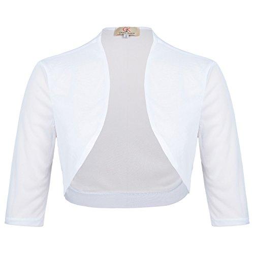 GRACE KARIN Chiffon Short Bolero Shrug For Juniors Teens White Size XL - White Half Jacket