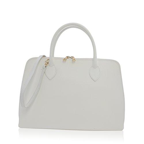 cm Main Florence pour à 12 Made in Véritable Cuir Femme Blanc Sac 27 37 57YaqY