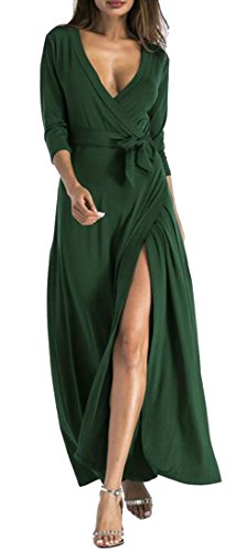 Slit Sleeve Wrap Green Women Solid 3 Stylish Blackish Long 4 V Neck Casual Domple Dress XgnW6n