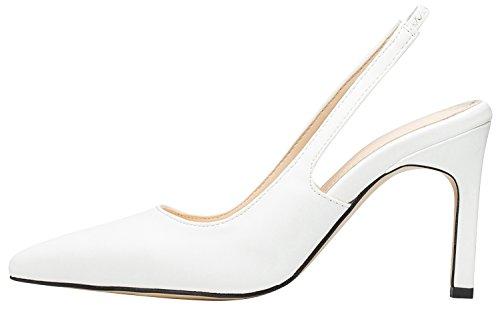 AnnaKastle Womens Classic Stiletto Heel Slingback Pumps Dress Shoes White dN8wEmj