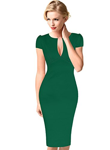 Emerald Cocktail Dresses (VfEmage Womens Sexy Elegant Floral Flower Lace Party Cocktail Bodycon Dress 8875 Grn 16)