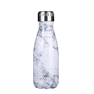 """anature"" Stainless Steel Water Bottle,Double Wall Vacuum Insulation,Cola Shaped for Kids,Ladies,Business Convenience,Small Size,9oz,White Marble"