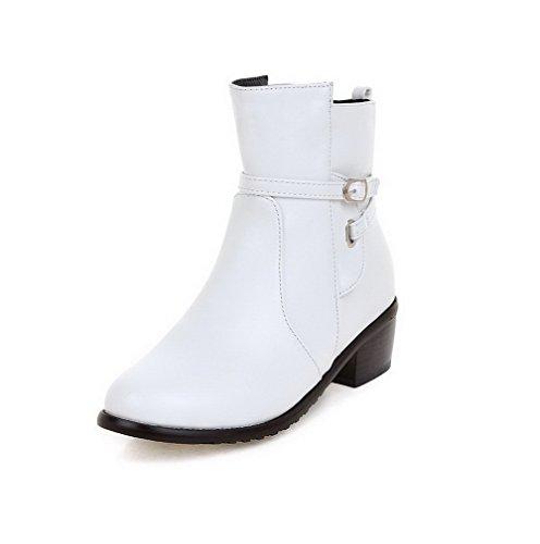Round Women's Closed Heels top Solid Low Zipper Boots Toe AgooLar Kitten White nXwf1FOF