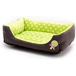 Vivian Inc Beds & Furniture Luxury Dog Bed Cute Dot Pet Nest Kennel Super Soft for Small Dog Cat Pet (Green,45x 40x12cm)