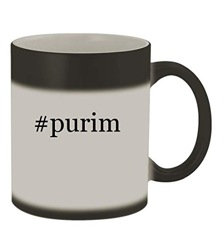 #purim - 11oz Color Changing Hashtag Sturdy Ceramic Coffee Cup Mug, Matte Black