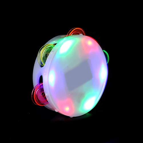 Fun Central AI337 LED Light Up Round Tambourine, Tambourine for Kids, Tambourine Toy, Hand Tambourine, LED Tambourine-Birthday, Christmas, Mardi Gras, Rave Party- Multicolor -