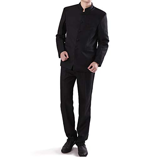 Chinese Tunic Suits Mandarin Collar Formal Black Suit Slim Fit Front Button Japanese School Uniform Groom Dress (Black, L)