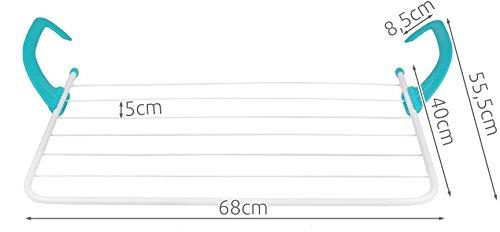 Iso Trade W/äschetrockner Badezimmer Heizung Balkon 4m Trockenl/änge 6 Bahnen Max 10kg 2620