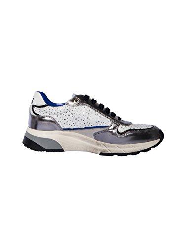 Corvari Damen Sneaker mit Lochdetail in Weiss-Silber White 38