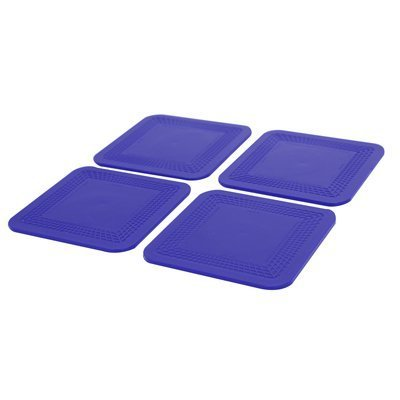 Dycem non-slip square coasters, set of 4, blue