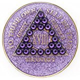 37 Year Purple Glitter with Lavender Swarovski Crystals Tri-Plate Alcoholics Anonymous Medallion- AA Sobriety Chip