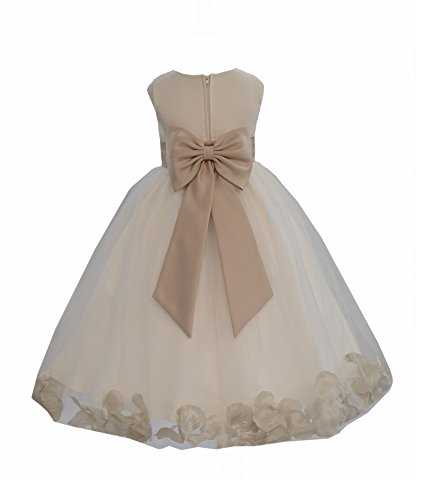 Ivory Tulle Rose Floral Petals Toddler Flower Girl Dresses Bridal Gown 302T 4 (Dress Flower Gown Girl)