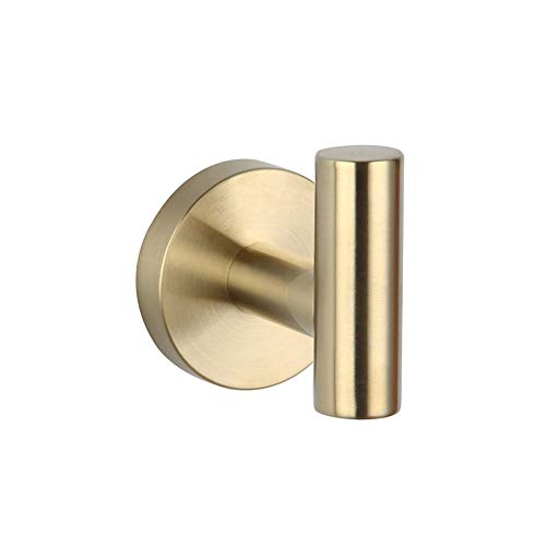 Bath Single Coat Hook SUS 304 Stainless Steel Towel/Robe Clothes Hook for Bathroom Kitchen Contemporary Hotel Style Wall Mounted Brushed PVD Zirconium Gold