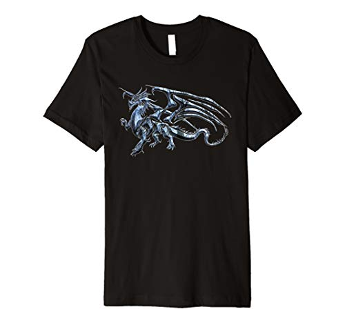Winged Dragon Tribal Tattoo Light Blue Silhouette Image Premium T-Shirt