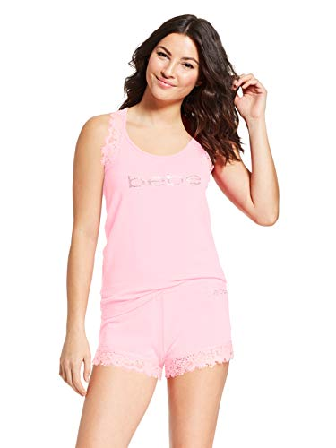 Bebe Tank - bebe Womens Lace Trim Tank Top and Shorts Pajama Lounge Sleep Set Light Pink Small