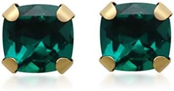Jewelili 10KT Yellow Gold Cushion Cut Created Emerald Stud Earrings