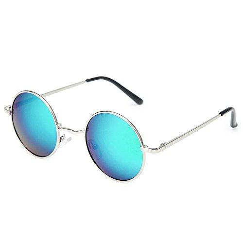 Joopin-Round Retro Polaroid Sunglasses Driving Polarized Sun Glasses Men Steampunk Vintage (Green - Blue And Sunglasses Green