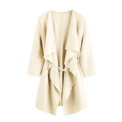 HHei_K Womens Winter Fall Lounge Plain Long Sleeve Open Front Loose Pockets Front Cardigan Wrap Coat by HHei_K