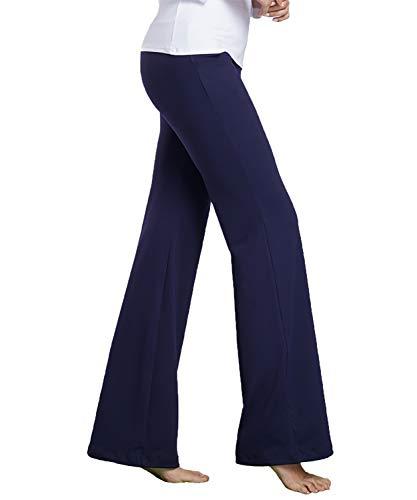 (Bamans Womens Comfort Fit Bootcut Yoga Pants Workout Running Non See Through Slim Stretch Wide Leg Yoga Leggings,Royal Blue S)