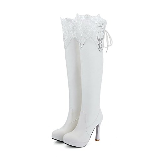 AmoonyFashion Womens PU High-Top Solid Lace-up High-Heels Boots White bO9Fb03Yr