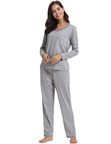 Hawiton Women's Long Sleeve Sleepwear Pants Sets Bottom Lounge Nightgowns