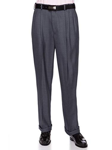 (GIOVANNI UOMO Mens Pleated Front Dress Pants with Hidden Expandable Waist Heather Blue-36 Short)