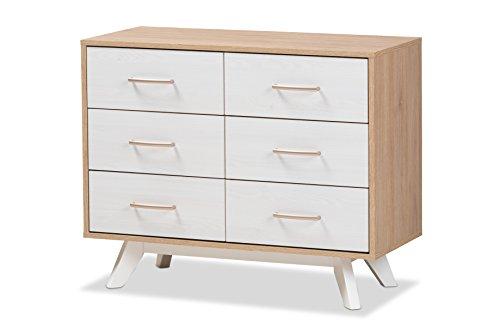 Baxton Studio 424-8009-AMZ Helga Mid-Century 6-Drawer Chest, Regular - Modern Oak Dresser
