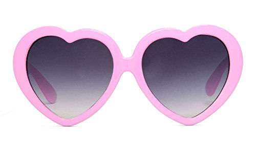 Curved Pink Heart (Gravity Shades Heart Shaped Lolita Sunglasses, Lt Pink)