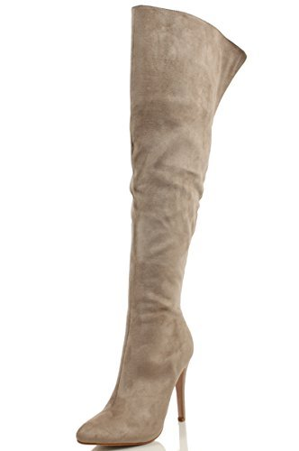 f44c15a847f3 Paprika Sandra Women s Sexy High Stiletto Heel Pointed Toe Over Knee High  Boots (Clay IMSU