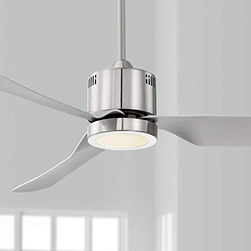 52 Visionary Modern Ceiling Fan with Light LED Brushed Nickel Frosted for Living Room Kitchen Bedroom Family Dining – Casa Vieja