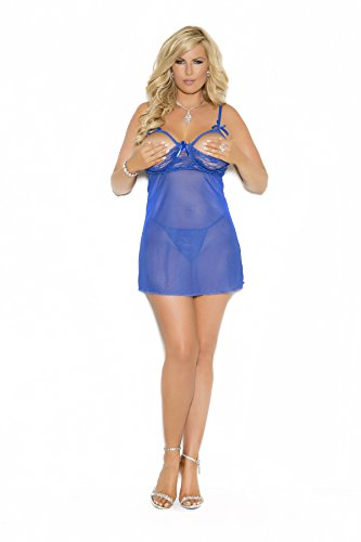 Elegant Moments Women's Plus-Size Queen Size Babydoll with Satin Bow (Elegant Moments Lingerie)