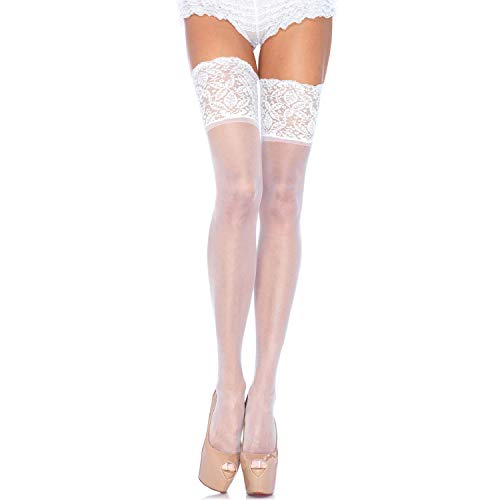 Leg Avenue Womens Stay-Up Lace Band Top Thigh Highs