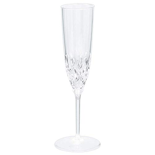 Clear Crystal Premium Plastic Champagne Flutes, 8 Count, 5-Ounce Size