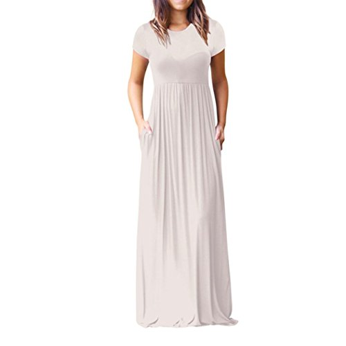 Neck Floor (WILLTOO Women Short Sleeve Long Dress Neck Casual Floor Length Party Gown Elegant Slim Dress With Pockets (White, S))