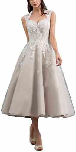 8fcae1d8363 Fenghuavip Women s Sequins Lace Appliques Mother of The Bride Dresses Tea  Length
