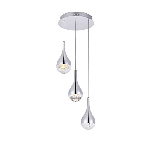 Elegant Lighting Amherst Collection LED 3-Light Chandelier 12in x 9in Chrome Finish Amherst Collection 3 Light