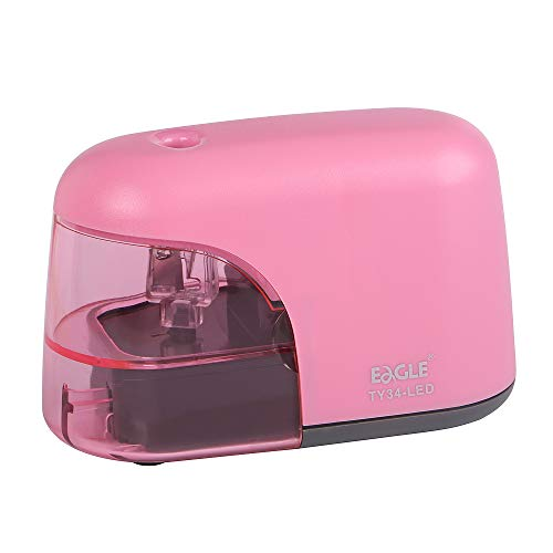 Eagle Battery Operated Electric Pencil Sharpener With LED Light Shining During Sharpening Pencil (Pink)
