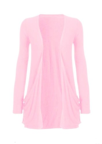 Hot Hanger Ladies Plus Size Pocket Long Sleeve Cardigan 16-26 : Color – Baby Pink : Size – 16-18 LXL