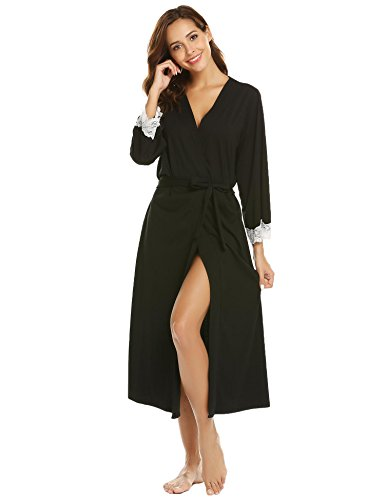 Silk Drawstring Robe (Corgy Long Robe Women Black Long Sleeve Knee Lenght Silk Robe,Black,L)