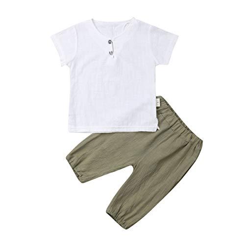 Toddler Kid Baby Boys White Short Sleeve T-Shirt Top Cotton Linen Short Pants 2Pcs Summer Outfit (12-18M, White+Green)]()
