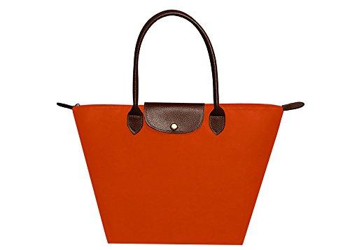 Febbya Cabas,Femme Sacs à Main de Courses Imperméables Pochettes Pliable pour Shopping Plage Voyage Nylon Noir Moyen Orange