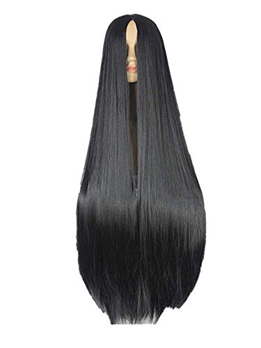 Gifts Synthetic Heat Resistant Fiber Long Halloween Carnival Costume Cos-play Straight Hair,Jet-black,Serrated ()