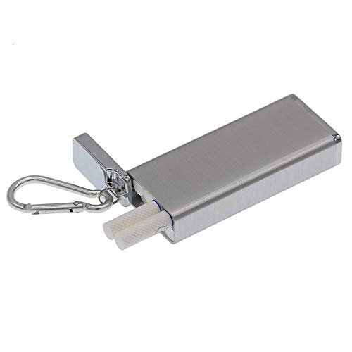 Outdoor Portable Mini Storage Device containers-Metal Ultra-Thin Cigarette case with Keychain-can be Hung on a Backpack-Suitable for Storing Cigarettes, Medicines, Seeds, Insect specimens