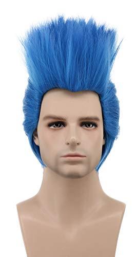 Karlery Men Short Straight Blue Wig Helloween Costume