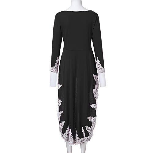 da Long Women's sleeved Lace Hem neck O Nero Vestito Dress Irregular Color Solid Casual Pullover donnaSunnywill TdqRwnax